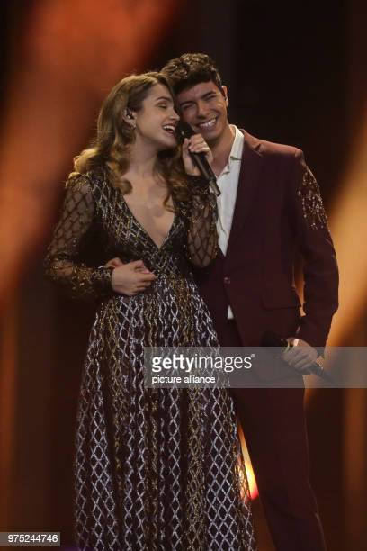 Spain's Alfred Amaia perform 'Tu Cancion' at the finals of the 63rd Eurovision Song Contest Photo Jörg Carstensen/dpa