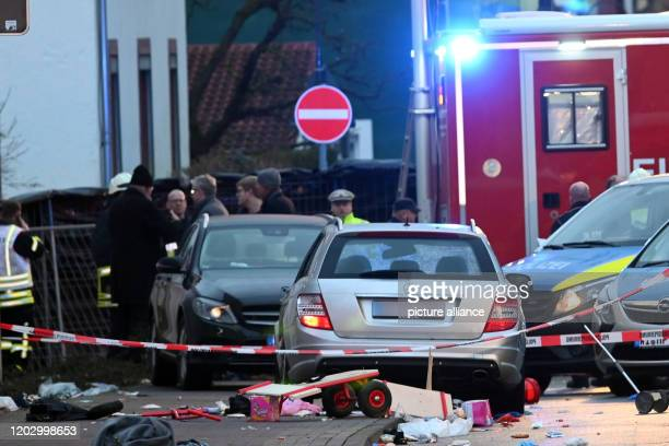 dpatop 24 February 2020 Hessen Volkmarsen View of the car that went into a Rose Monday procession Dozens of people were injured The police assume...
