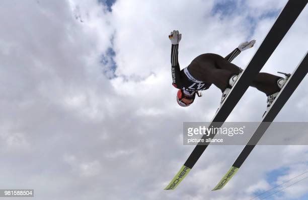 Weltcup 25 March 2018 World Cup Ski Jumping Women Katharina Althaus from Germany on the qualification jump Photo KarlJosef Hildenbrand/dpa