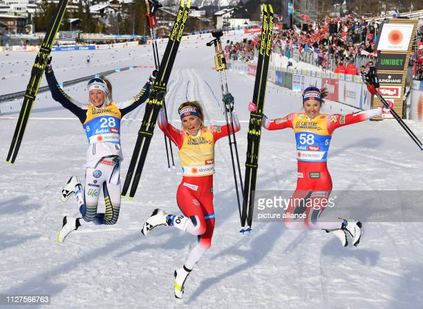 dpatop 26 February 2019 Austria Seefeld Nordic skiing world championship crosscountry skiing 10 km classic ladies Therese Johaug from Norway cheers...