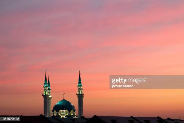 soccer World Cup national team The dome and towers of the Kol Sharif mosque in the evening light in Kremlin With its architectural and historical...