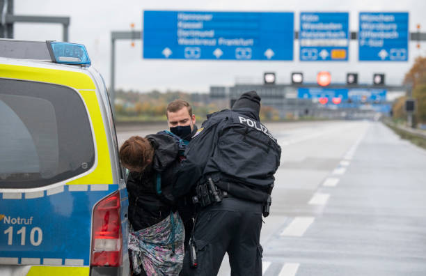 DEU: Environmental Activists Block Motorway Near Frankfurt Airport