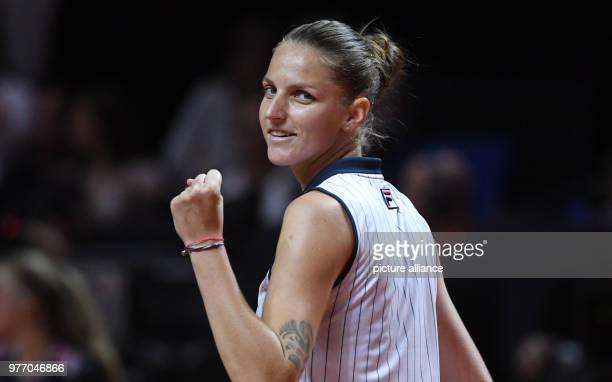 dpatop 28 April 2018 Germany Stuttgart Tennis WTATour single women The Czech Republic's Karolina Pliskova celebrating after her victory against...