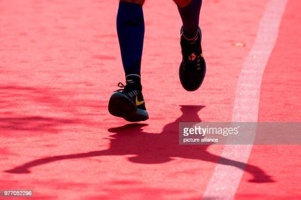 A participant of the 33rd Hamburg Marathon celebrating at the finish line Photo Malte Christians/dpa