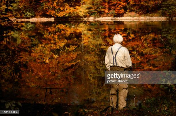 dpatop A man fishes near a lake which reflects the autumnal colouring of the nearby forest in Stuttgart Germany 16 October 2017 Photo Sina Schuldt/dpa