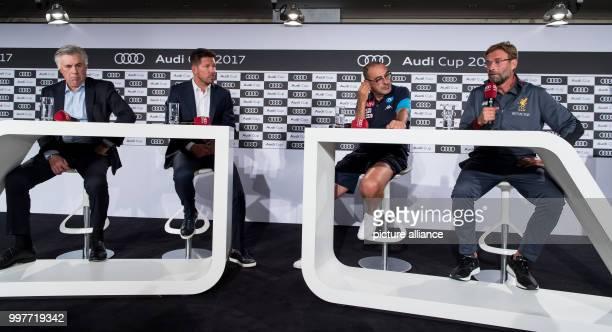 dpatop Coaches Carlo Ancelotti of Bayern Munich Diego Simeone of Atletico Madrid Maurizio Sarri of Napoli and Jurgen Klopp of Liverpool taking part...