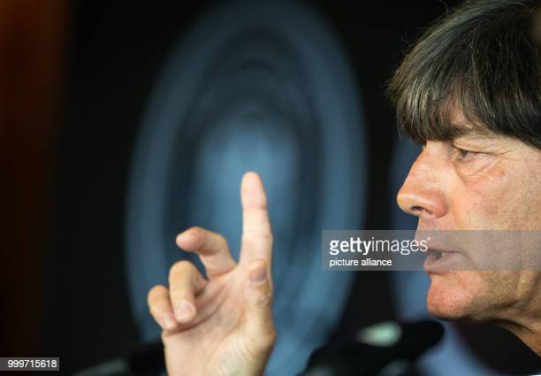 Dpatop - German head coach Joachim Loew during a press conference regarding the world cup qualification at the Mercedes Benz Museum in Stuttgart,...
