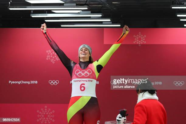 dpatop Germany's Natalie Geisenberger celebrates after winning the women's single luge event on day four of the Pyeongchang 2018 Winter Olympics...