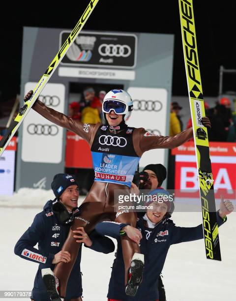 dpatop Kamil Stoch of Poland reacts after his jump in the second round at the Four Hills Tournament in Bischofshofen Austria 6 January 2018 Stoch won...