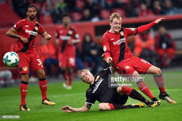 dpatop Leverkusen's Julian Brandt scores during the German DFB Pokal soccer cup match between Bayer Leverkusen and 1 FC Union Berlin at the BayArena...