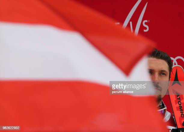 dpatop Marcel Hirscher from Austria during the award ceremony of the giant slalom competition at the FIS Alpine Ski World Cup in...