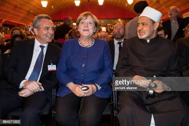 Dpatop - Marco Impagliazzo , Community of Sant`Egidio, Angela Merkel, German Chancellor and Ahmed Muhammad Al-Tayyeb, Grand Imam of Al-Azhar...
