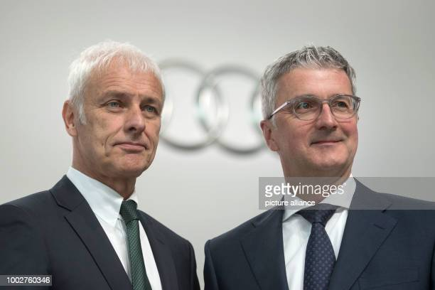 dpatop Matthias Mueller CEOof Audi AG and Rupert Stadler chairman of the board pictured at the Audi AG general meeting in Neckarsulm Germany 18 May...