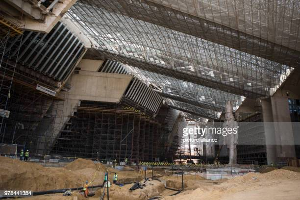 dpatop The colossus of Pharaoh King Ramses II is seen at it's permanent display spot inside the Grand Egyptian Museum in Giza Egypt 26 April 2018...