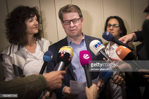 dpatop The head of the SPD in the state of SchleswigHolstein Ralf Stegner and colleagues Serpil Midyatli and Christiane Kuechenhof make a press...