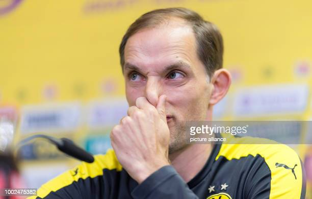 dpatop The headcoach of Borussia Dortmund Thomas Tuchel during a press conference in Dortmund Germany 12 May 2017 Photo Guido Kirchner/dpa