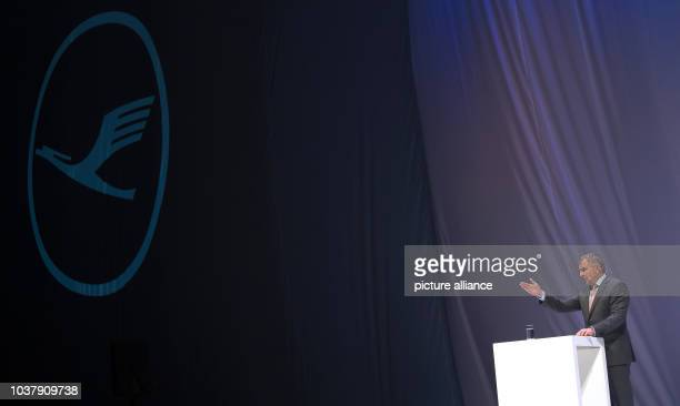 dpatopimages The CEO of Lufthansa Carsten Spohr speaking under a company logo before the beginning of the christening event for its new Airbus...