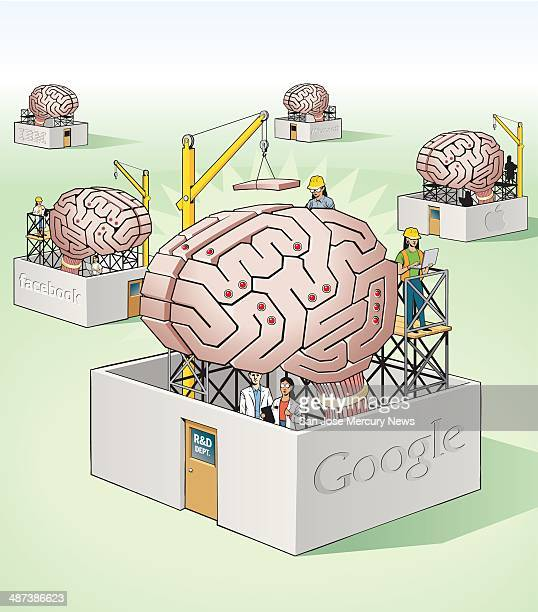 USA 2014 300 dpi Doug Griswold illustration of artifical brains the tech giants are racing to develop <p> SJ San Jose Mercury News by Brandon Bailey
