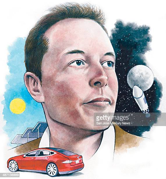 USA 2014 300 dpi Doug Griswold illustration of Elon Musk head of Tesla Motors and SpaceX