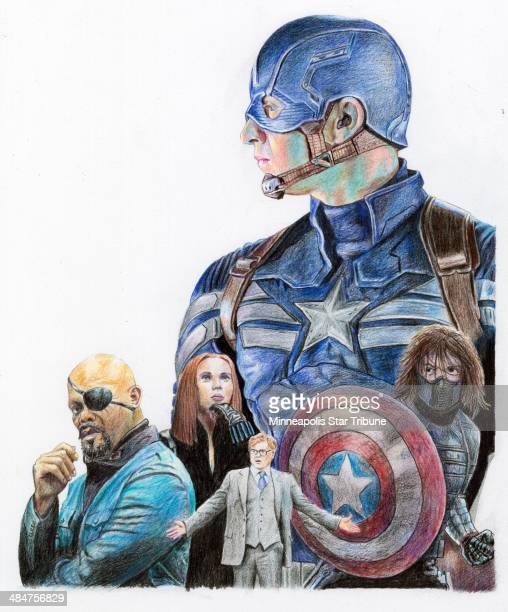 USA 2014 300 dpi Eddie Thomas illustration related to the new movie Captain America The Winter Soldier LA Los Angeles Times by Gina McIntyre