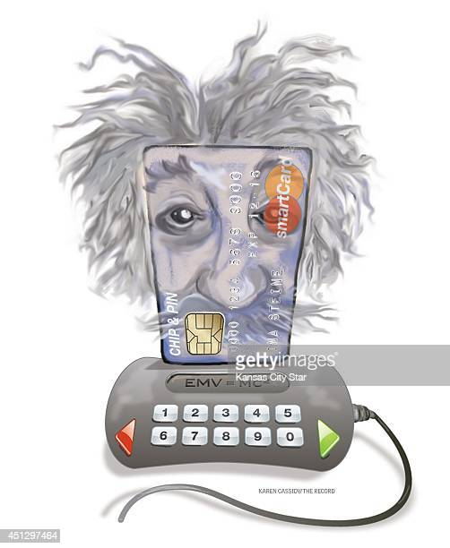USA 2014 300 dpi Karen Cassidy illustration of a credit card with Einstein's image superimposed relates to the new generation of smart cards <p> HK...