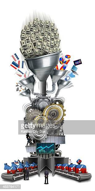 USA 2013 300 dpi Neil Nakahodo color illustration of a representation of the US political system as a machine driven by money and special interests...