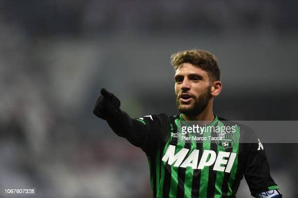 Dpomenico Berardi of US Sassuolo gestures during the Serie A match between US Sassuolo and Udinese at Mapei Stadium Citta' del Tricolore on December...