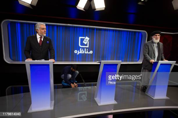 Dr. Abdullah Abdullah at the the network TOLO televised debate with Gulbuddin Hekmatyar head of Party for the Islamic unity of Afghanistan . The...