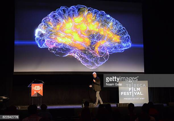 Dr Adam Gazzaley speaks onstage at the Games For Change games and media summit during 2016 Tribeca Film Festival at Spring Studios on April 18 2016...