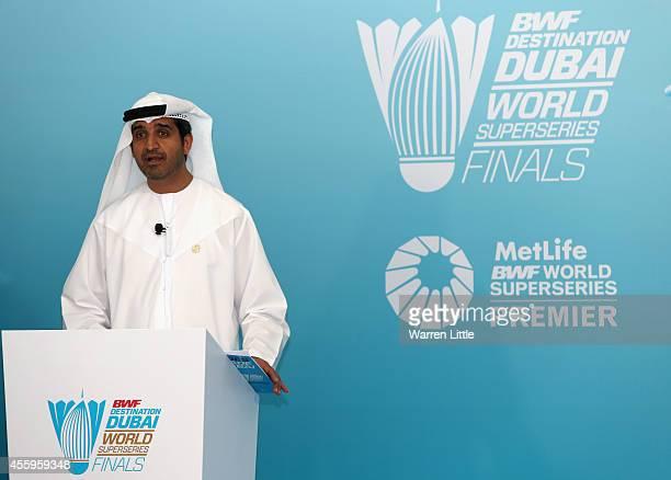Dr Ahmad Al Sharif Secretary General Dubai Sports Council addresses a press conference during the official launch the BWF Destination Dubai World...