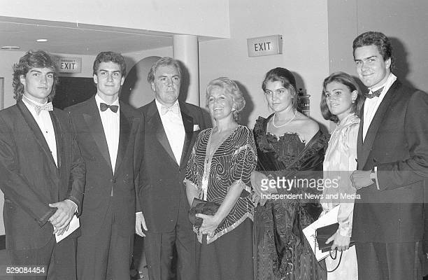 Dr AJF O'Reilly CEO of Heinz and Chairman of Independent Newspapers with his wife Susan and five of their six children from left Cameron Tony Justine...