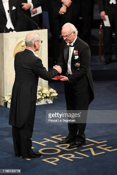 Dr Akira Yoshino laureate of the Nobel Prize in Chemistry receives his Nobel Prize from King Carl XVI Gustaf of Sweden during the Nobel Prize Awards...