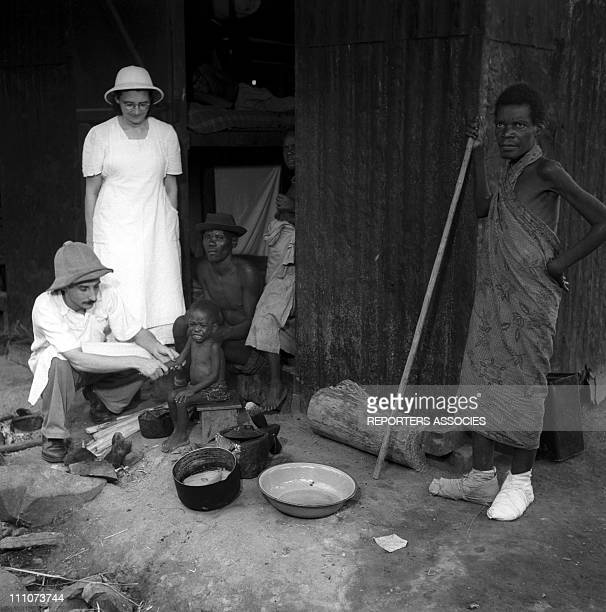 Dr Albert Schweitzer and his hospital in Lambarene Gabon in 1953 Mission hospital located on the Ogowe river At Lambarene Hospital Dr Schweitzer...
