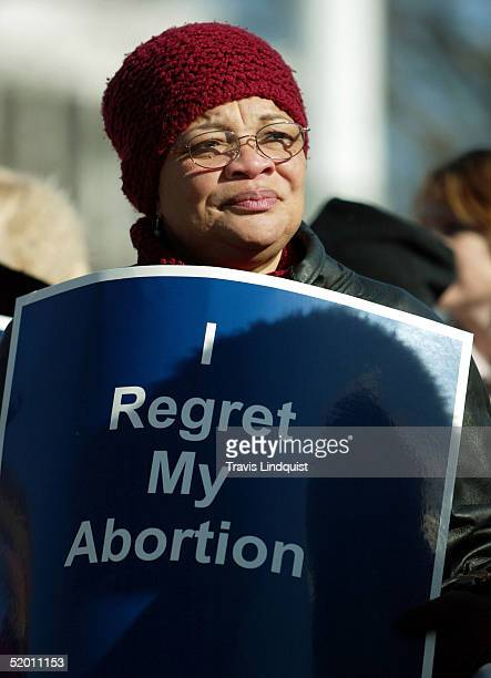 Dr Alveda King niece of Dr Martin Luther King stands in front of the US Supreme Court on January 18 2005 in Washington DC Norma McCorvey the Roe of...