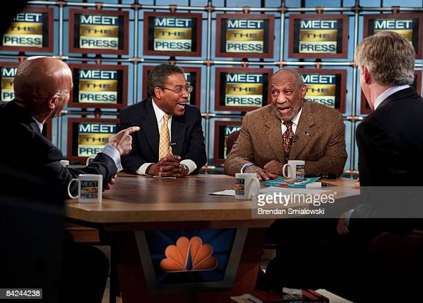 Dr Alvin F Poussaint and modorator David Gregory listen to Washington DC Mayor Adrian Fenty and comedian and author Bill Cosby speak about President...