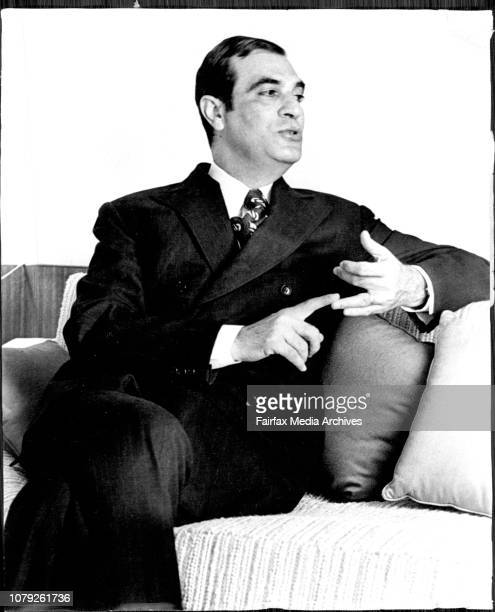 Dr Amin El Hafez Chairman of the Foreign Affairs Committee Lebanon on factfinding visit to Sydney June 28 1972