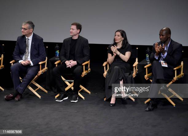 Dr Andres Lozano Bryan Johnson Nita Farahany and Bolu Abijoye speak onstage at the I Am Human screening at the 2019 Tribeca Film Festival at SVA...
