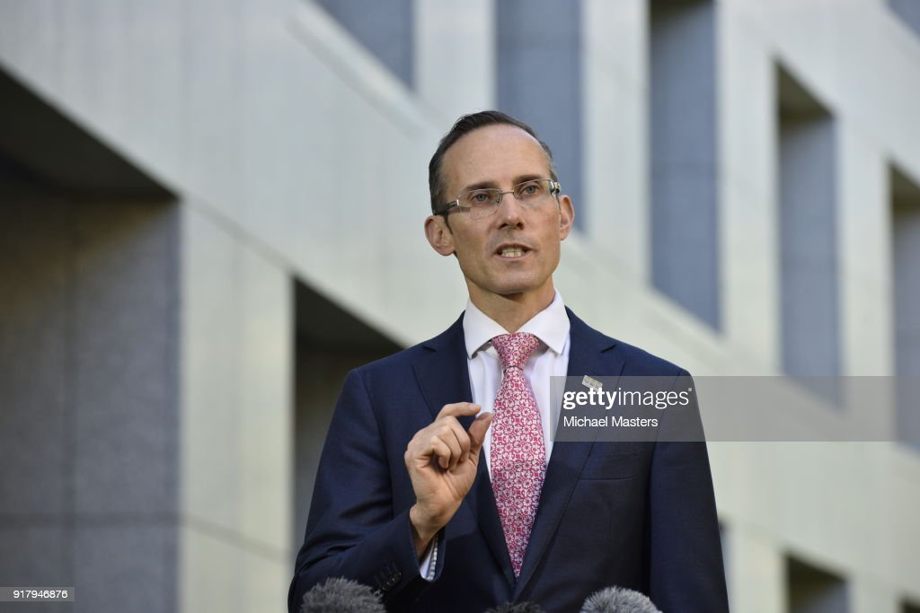 Dr Andrew Leigh MP speaking to reporters during a press conference at Parliament House on February 14, 2018 in Canberra, Australia.