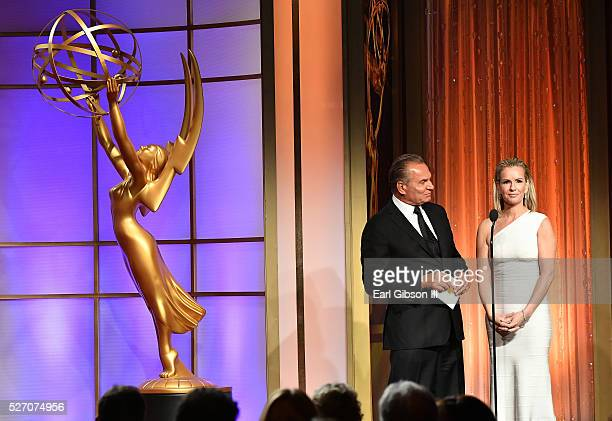 Dr Andrew P Ordon MD and physician Jennifer Ashton present on stage at the 43rd Annual Daytime Emmy Awards at the Westin Bonaventure Hotel on May 1...