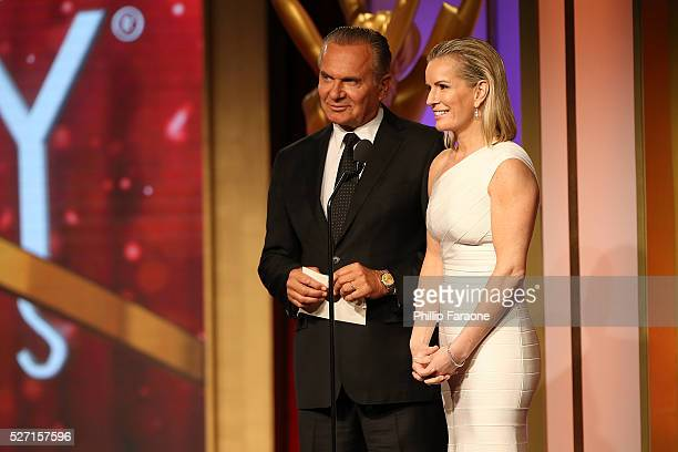 Dr Andrew P Ordon MD and physician Jennifer Ashton present onstage at the 2016 Daytime Emmy Awards at Westin Bonaventure Hotel on May 1 2016 in Los...