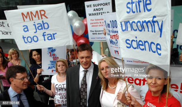 Dr Andrew Wakefield and his wife Carmel stand as they arrive at a General Medical Council hearing in central London where Dr Wakefield will hear...