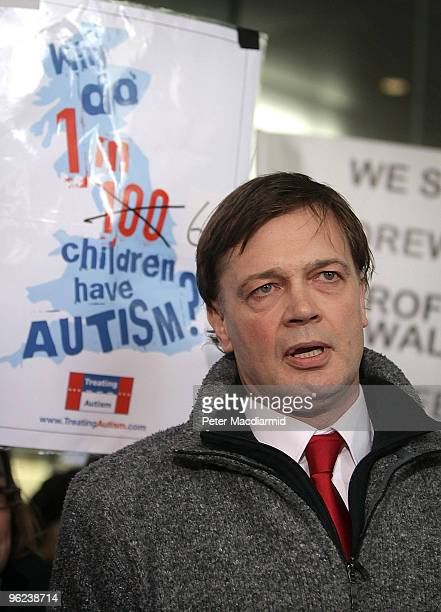 Dr Andrew Wakefield talks to reporters at the General Medical Council on January 28 2010 in London England Dr Wakefield was the first clinician to...