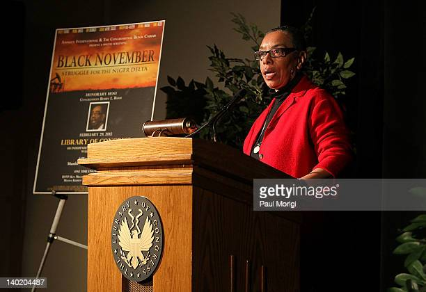 Dr Angel Batiste makes a few remarks at the 'Black November' film screening at The Library of Congress on February 29 2012 in Washington DC