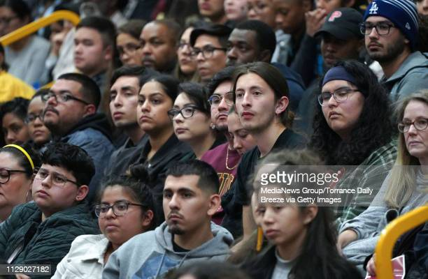 Dr Angela Davis speaks to students and community members in the packed gymnasium at CSU Dominguez Hills in Carson on Monday Feb 11 2019 Davis an...
