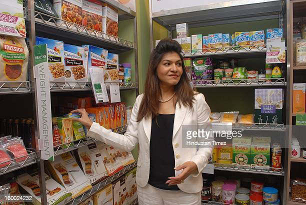 Dr. Anjali Mukherjee during unveiling of Health food section of Godrej Nature Basket store at Hill road, Bandra on January 22, 2013 in Mumbai, India.