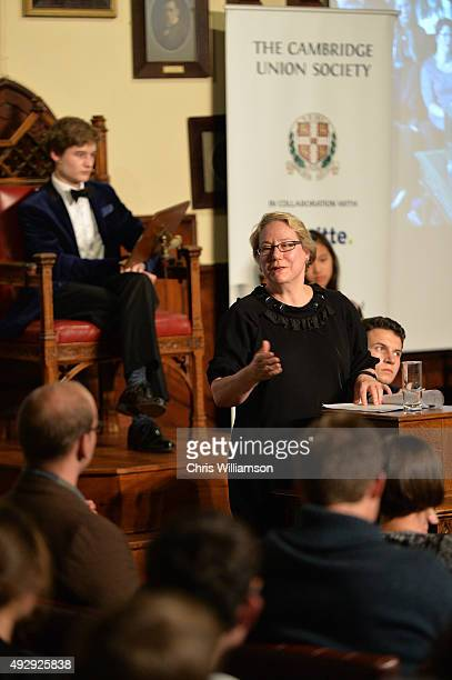 Dr Ann Olivarius during a debate at The Cambridge Union on October 15 2015 in Cambridge United Kingdom The Cambridge Union were dabting 'This House...