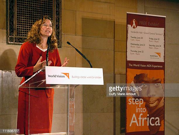 Dr Anne Peterson senior public health advisor for HIV/AIDS World Vision at the opening of the World Vision AIDS Experience interactive exhibit at...