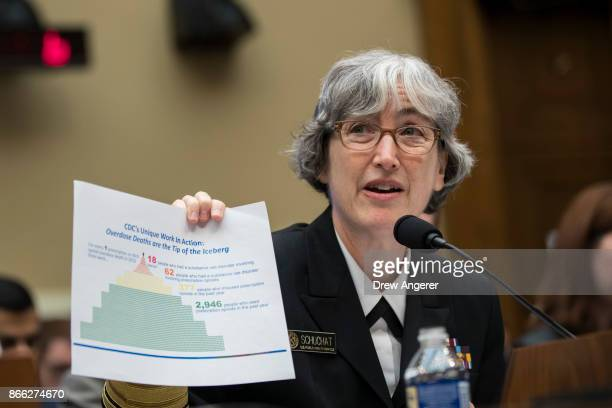 Dr Anne Schuchat deputy director at the Centers for Disease Control and Prevention holds up a paper with statistics about the opioid crisis as she...