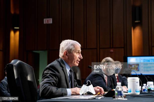 Dr. Anthony Fauci, Director at the National Institute Of Allergy and Infectious Diseases speaks at a hearing, with the Senate Committee on Health,...