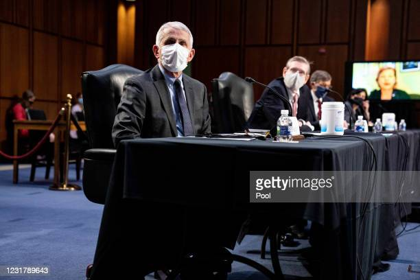 Dr. Anthony Fauci, Director at the National Institute Of Allergy and Infectious Diseases, listens during a hearing, with the Senate Committee on...